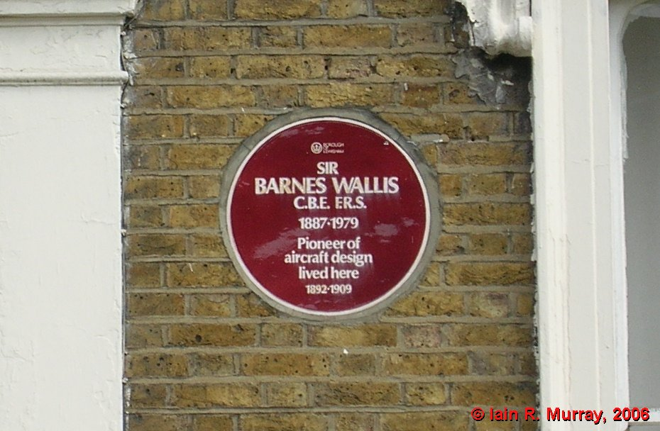 The plaque at 241 New Cross Road commemorates Wallis's association with the house